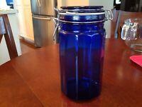 "VTG  Cobalt Blue Glass Paneled Canister W/wire Bail Lidded 8""H x 4"" Diameter"