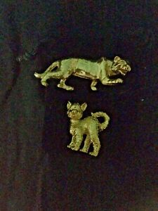 2 x small GOLDEN CAT statues - kitten and tiger - as new