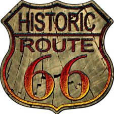 """Route 66 Wood Historic 11"""" Highway Shield Metal Sign Novelty Retro Home Decor"""