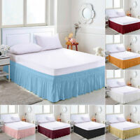 Solid Color Elastic Bed Skirt Hollow Ruffle Bed Cover Twin Full Queen King Size