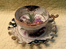 Nippon Yoko Boeki China Tea Cup & Saucer Fruit Pattern Gold Trim Reticulated X