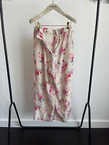 Vilshenko Sample White silk straight leg trousers with floral print 8UK