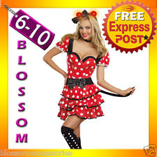 I17 Ladies Minnie Mickey Mouse Outfit Fancy Dress Disney Party Costume & Ears