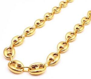 "24-30"" Inch 9.5m 10k Yellow Gold Mariner Anchor Puffed Gucci Chain Necklace Mens"