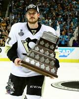 "2016 Stanley Cup MVP SIDNEY CROSBY w/ Conn Smythe Trophy ""Penguins"" 8x10 photo"