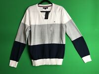 Tommy Hilfiger Mens V Neck Sweater Color Block Cotton Size Large White Navy Gray