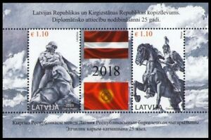LATVIA 2018-15 Kyrgyzstan Diplomatic Relations. Monuments Flags, Joint Issue MNH