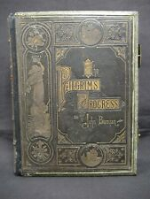 The Pilgrim's Progress by John Bunyan - Antique leather bound with brass clasps