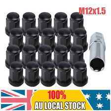 20Pcs M12x1.5 Black Alloy Wheel Hex Racing Lug Nuts +Locking Key For Holden Ford