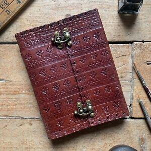 """7"""" Vintage Handmade Leather Embossed Journal Sketchbook Diary Notebook Cartridge"""