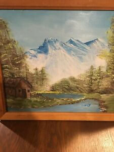 PRIMITIVE / FOLK ART / PAINTING / MOUNTAIN SCENE/ WAPAK OHIO ARTIST/ AUGLAIZE  A