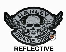 REFLECTIVE HOG WINGED SKULL VEST 10.5 IN PATCH HARLEY DAVIDSON OWNERS GROUP 2XL