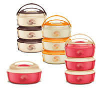 3pc Microwaveable Hot Pot Casserole Serving Set Thermal Insulated Food Storage