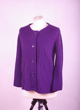 P401/46 New Joanna Hope Purple Cable Knit Vegan Friendly Cardigan ,size 14