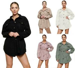 Womens Italian Fleece Casual Tie Waist Belt Oversized Jacket Shacket Coat Top