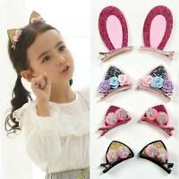 Fashion Girls Cute Hair Clips Flowers Hairpins Rabbit Ears Barrettes For Kids