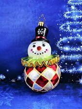 "New ListingChristopher Radko Glass Round Clown Snowman Ornament 6"" Tall Shiny Glittery"