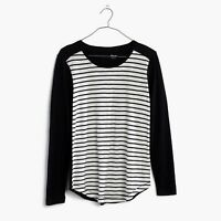 Madewell women Whisper Tee Striped black white Long Sleeve crewneck Shirt Sz XS