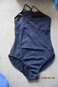 Black Bloch/Mirella lace trim high neck camisole leotard -Size Large M2101LM