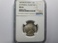 India 1862 VICTORIA QUEEN 1/2 Rupee, Silver Coin NGC MS64 UNC