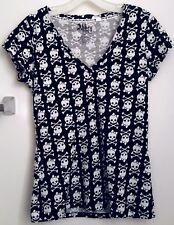 Abbey Dawn Avril Lavigne V-Neck Girly Skull Shirt Juniors Size Medium