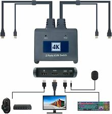More details for hdmi kvm switch with cables 2 port switcher  4kx2k@30hz resolution