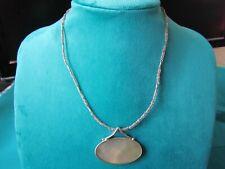 "Lia Sophia Single Strand Glass Bead & Shell Pendant Silver Tone 16-19"" Necklace"