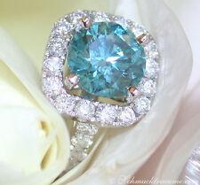 Exquisites Unikat: Blauer Brillant Solitär Ring, 3.06 cts. TW-VS, WG585 20.760€