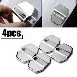 4x Stainless Steel Auto Door Lock Protective Cover  Car Decorative Accessories