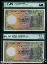 Egypt  10£  1951 Consecutive 2 PCS P23D PMG 53/50 About Uncirculated  RARE