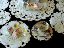 Beautiful 13pc Vtg Madeira Linen Placemats Tea Dessert Hand Embroidered Pristine