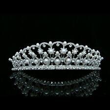 Bridal Wedding Pageant Rhinestones Crystal Pearls Silver Crown Tiara 7396