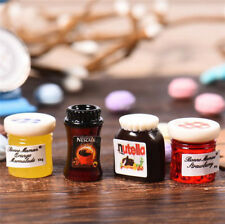 4pcs 1:12 Dollhouse Miniature Jam Coffee Food Doll House Kitchen Furniture ♫