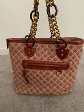 Marc Jacobs Quilted Gold Chain Strap Large Tote Handbag Deep Red