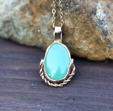 Cabochon Chrysoprase Pendant in Solid 14K Yellow Gold Bezel Setting Canada