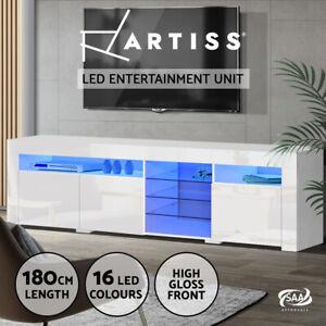 Artiss TV Cabinet Entertainment Unit Stand RGB LED Gloss 3 Doors 180cm White