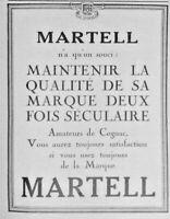 PUBLICITÉ DE PRESSE 1926 MARTELL POUR LES AMATEURS DE COGNAC