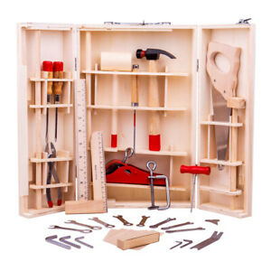Bigjigs Toys Wooden Junior Tool Box with Hammer, Saws, Spanners Kids Child