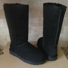 UGG Classic Tall II 2 Black Water-resistant Suede Sheepskin Boots Size 8 Womens