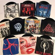 "Classic Rock Vinyl Lot 7"" 45 Pic Sleeve Rolling Stones Deep Purple Bob Seger VG+"