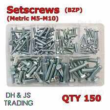 Assorted Box of Setscrews Metric M5 M6 M8 M10 BZP Qty 150 Set Screws Bolts