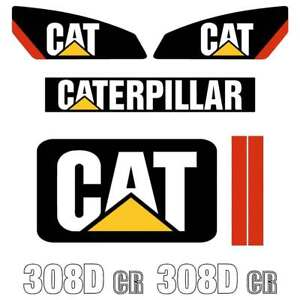 CAT 308D Decals Stickers - repro excavator decal kit,