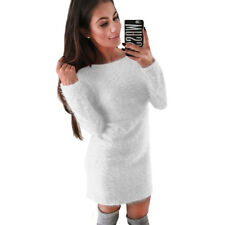 Women Long Sleeve Fluffy Sweater Top Round Neck Bodycon Mini Jumper Dress Winter