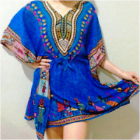 BLUE AFRICAN PRINT PLUS SIZE SHORT LENGTH KAFTAN TOP KIMONO TUNIC HOLIDAY DRESS
