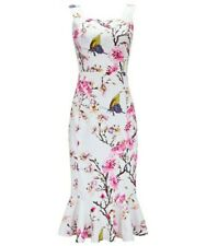 Joe Browns NWT UK size 10 white & pink floral lined bodycon frill hem dress