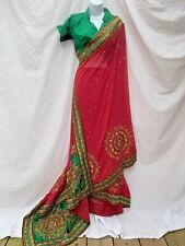 Sari Saree Traditional Indian Clothing Wedding Party Costume Green Red Burgundy