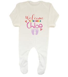 Personalised Welcome To The World - Girl Baby Grow Sleepsuit Boys Girls