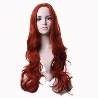Auburn Ginger Mix Long Wavy Ladies Wig Synthetic Hair Wigs Orange Wig Full Wigs