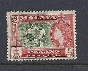 Malaya Penang 1957 QEII Scott 54 F D'Occasion
