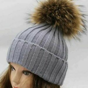 Women Girl Winter Pom Pom Beanie w/Real Raccoon Fur Wool Knitted Cuff Hat Gray